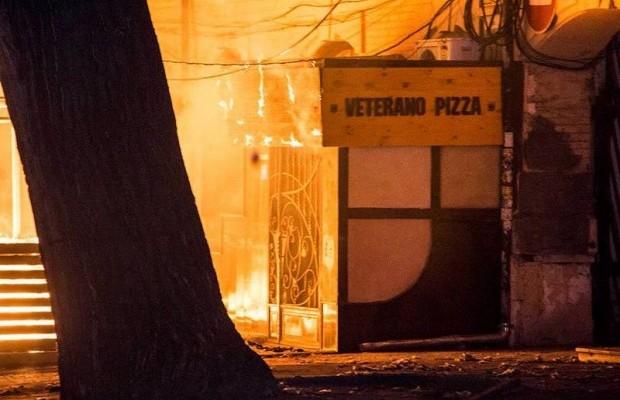 В Днепре сожгли «Pizza Veterano» (ВИДЕО)