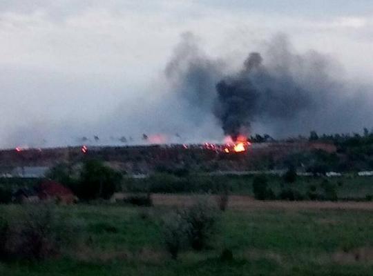 О пожаре на Новомосковском мусорном полигоне