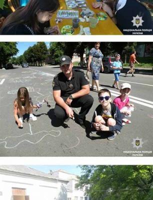 У День захисту дітей новомосковські поліцейські разом з дітьми малювали «світ за твоїм вікном»