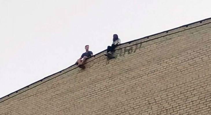 Новомосковская молодёжь играет со смертью на крыше