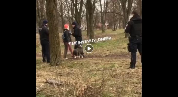 Патрульные полиции Днепра напали на девушку с собакой (ВИДЕО)